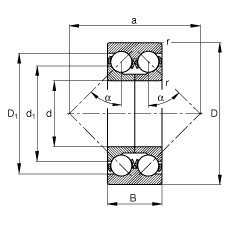 60 mm x 130 mm x 54 mm  FAG 3312-DA angular contact ball bearings