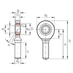 60 mm x 90 mm x 44 mm  INA GAR 60 UK-2RS plain bearings