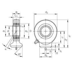 60 mm x 90 mm x 44 mm  INA GK 60 DO plain bearings