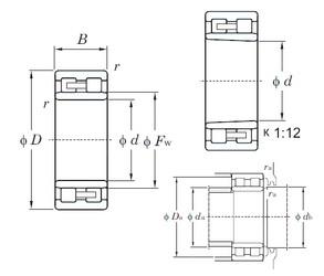 105 mm x 145 mm x 40 mm  KOYO NNU4921K cylindrical roller bearings