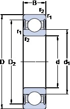35 mm x 72 mm x 17 mm  SKF W 6207-2RS1/VP311 deep groove ball bearings