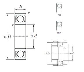 28 mm x 58 mm x 16 mm  KOYO 62/28-2RD deep groove ball bearings