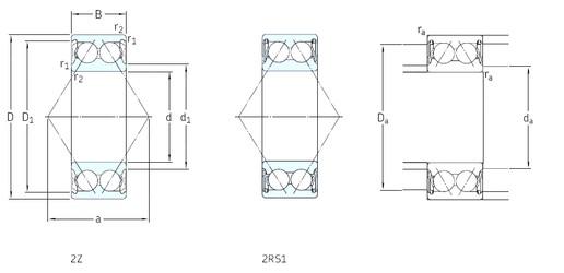 60 mm x 130 mm x 54 mm  SKF 3312A-2Z angular contact ball bearings