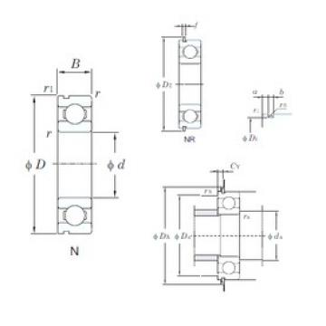 28 mm x 58 mm x 16 mm  KOYO 62/28NR deep groove ball bearings